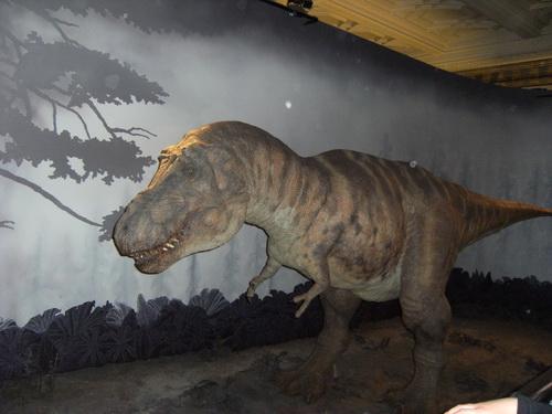 Ein Dino, der (ferngesteuert) auf Besucher reagiert