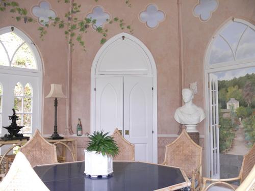 Tromp d'oeil Malerei im Gartenpavillion