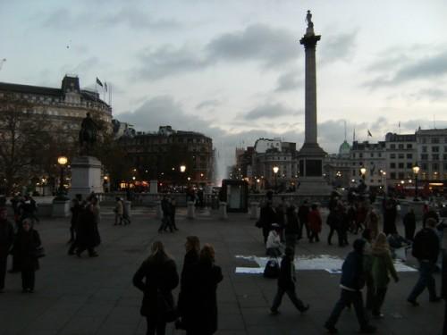 Trafalgar Square von den Stufen der National Gallery aus