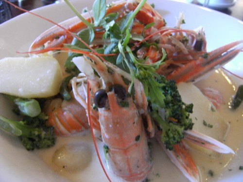 Loch Dunvegan Langoustines with potatoes and vegetables served in broth