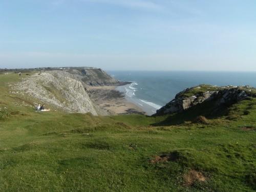 Blick zurück auf die Pennard Cliffs