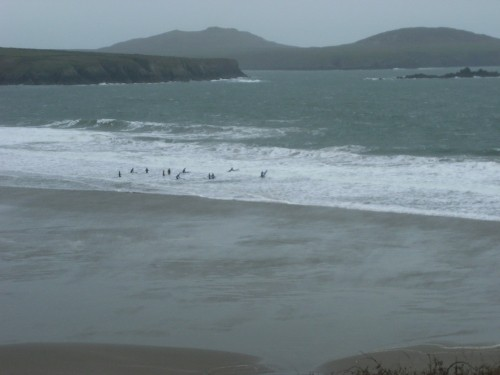 Surfer in Whitesands Bay